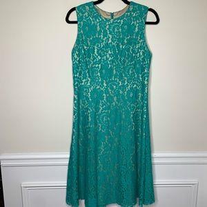 Eliza J sleeveless fit n flare green lace dress 8